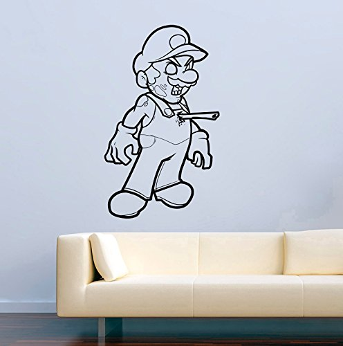 Game Vinyl Decal Funny Super Mario Zombie Video Game Halloween Wall Stickers Murals Decor MK4894