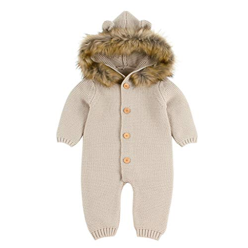 Winter Knitted Thicken Romper,G-Real Newborn Infant Baby Boy Girl Jumpsuit Snowsuit Warm Fleece Hoodie Outfits Khaki