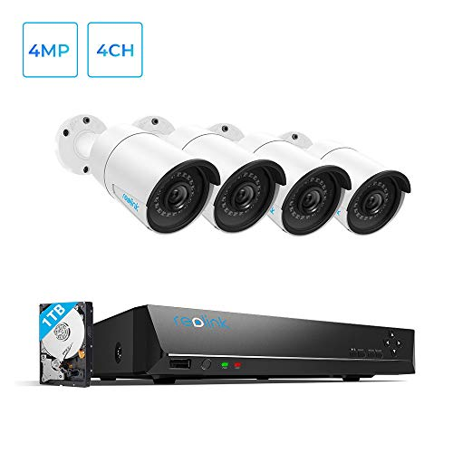 Reolink 4CH 4MP PoE-Security-Camera-System, 4pcs Wired 4MP Outdoor PoE IP Cameras, 4-Channel NVR with 1TB HDD for Home and Business...