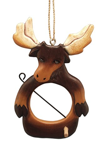 Cheap Songbird Essentials Hand-Carved Albesia Wood Whimsical Moose Fruit or Birdseed Ball Bird Feeder