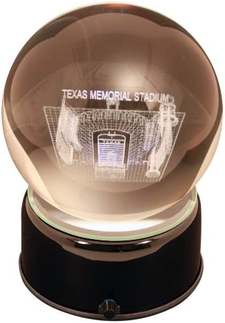 NCAA Texas Longhorns Memorial Stadium Etched Lit Musical Turning Crystal Ball