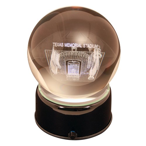 NCAA Texas Longhorns Memorial Stadium Etched Lit Musical Turning Crystal Ball (Ball Crystal Etched Stadium)