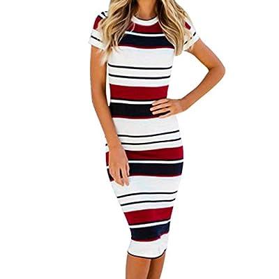 BODOAO Women's Slim Bodycon Dress Stripe Cocktail Party Pencil Dress