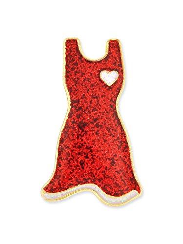 PinMart Glitter Red Dress American Heart Month Enamel Lapel Pin