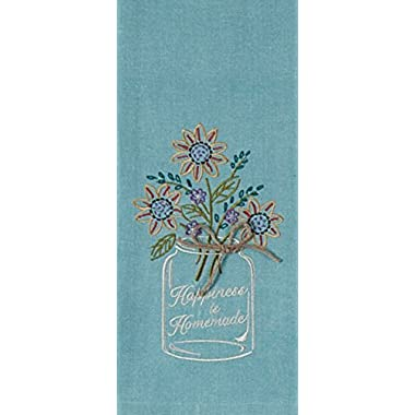 Kay Dee Designs Kitchen Embroidered Chambray Mason Jar Tea Towel, Happiness is Homemade - Pastel Blue