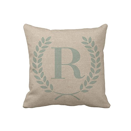(Personalized Throw Pillow Case Monogrammed Olive Decorative Cushion Cover Zippered Accent Pillow Cover 18x18