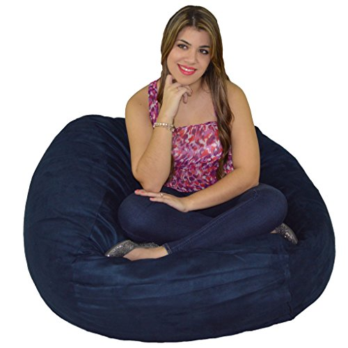 Bean Microfiber Bag Chairs - Cozy Sack Bean Bag Chair: Large 4 Foot Foam Filled Bean Bag - Large Bean Bag Chair, Protective Liner, Plush Micro Fiber Removable Cover - Navy