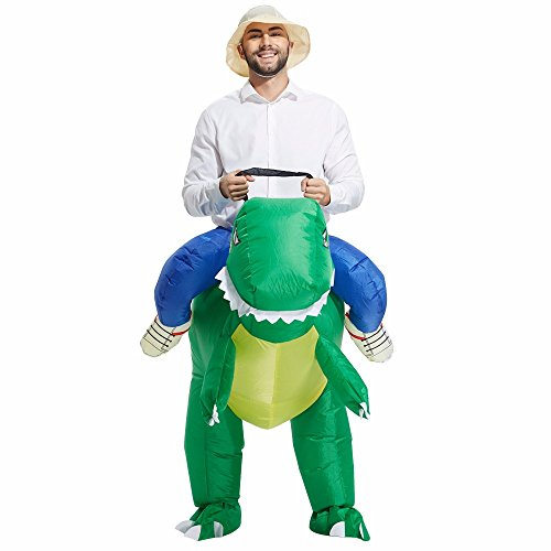 Ostrich Racer Costume (Nynoi Costume Animal Costume Halloween inflatable Dinosaur For Man green collor)