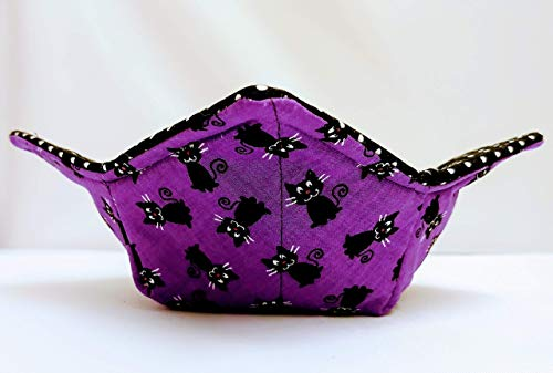 Black Cats on Purple with Black and White Polka dots microwave safe soup bowl cozy or potholder