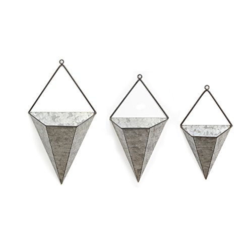 Stratton Home Decor 3pc. Triangular Galvanized Wall Planters, Pewter from Stratton Home Decor
