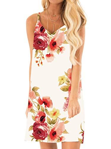 OFEEFAN Womens V Neck Flower Prom Dress Strappy Casual Boho Hawaiian Dresses Peony S