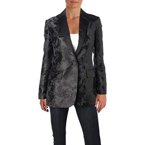(Lauren Ralph Lauren Womens Zahir Jacquard Vine Print One-Button Blazer Black 8)