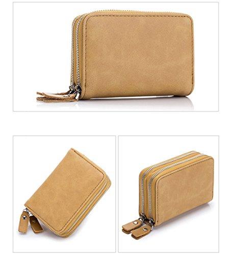 MeiliYH RFID echtes Leder Doppel Zipper Card Pack Matte Textur Multifunktions Organ Tasche Schlüssel Tasche für Männer für Damen Aprikose Ob1sPoTa