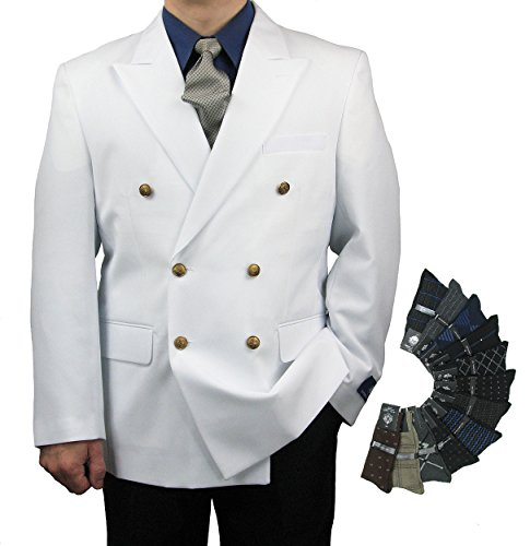 Triple Blessings Men's Classic Fit Double-Breasted Blazer Jacket Sports Coat w/One Pair Of Dress Socks - White 42S