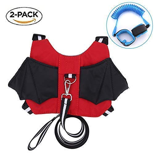 Anti-Lost Baby Safety Walking Harness & Leash Strap Backpack for 1 – 4 Years Old Boy & Girl for Travel Park Hiking + Bonus Safety Wrist Link