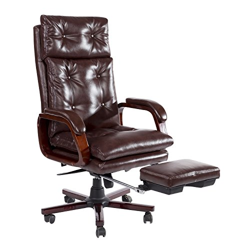 (HomCom High Back PU Leather Executive Reclining Office Chair with Footrest)