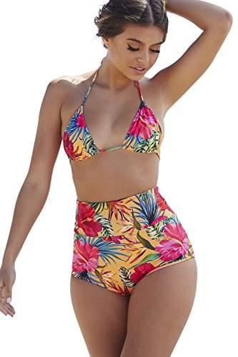 aikiki Sunset Tropical Print High Waist Scrunch Bikini Bottoms Small (Sunset Tropical Print)