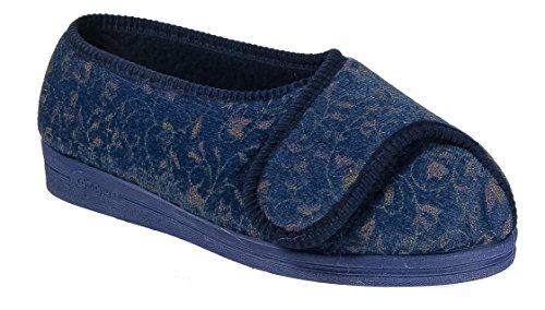 Womens Ladies Wide Fit Slippers / Super Wide EEEE Navy Blue Touch Fastening e25EmO8