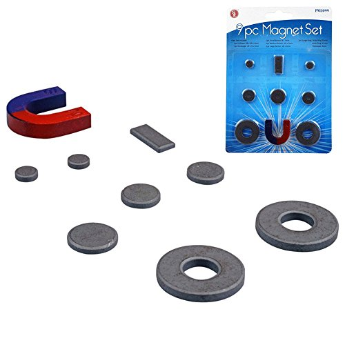 SE PM2099 9-Piece Magnet Set in Assorted Shapes and - Assortment Magnet
