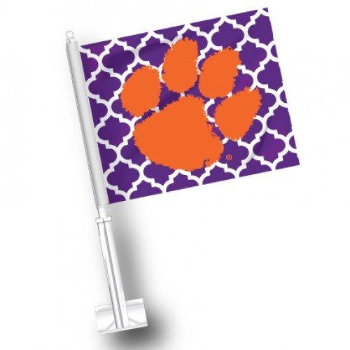 Tigers Car Flag Set - NCAA Clemson Tigers Quatre Foil Car Flags Set of 2