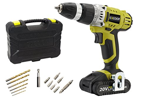 CACOOP CCD20001LBB 20V MAX 1.5 Ah Lithium-Ion Cordless Drill/Driver Set, With 1 20V Battery pack, 1 Rapid charger, 6 HSS wood drill bits, 6 Screwdriver bits, 1 Magnetic bit holder and 1 Belt hook by CACOOP