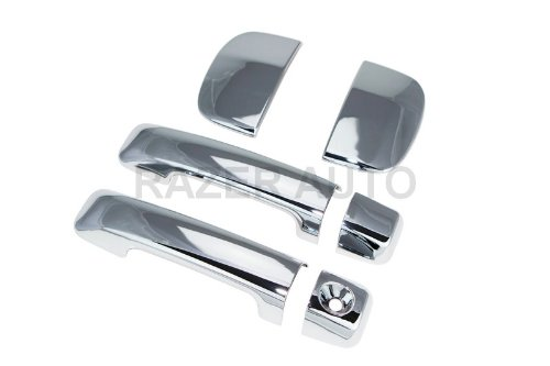 Razer Auto 2007-2014 TOYOTA TUNDRA DOUBLE CAB CHROME DOOR HANDLE COVER 4D W/O PASS - Chrome Door 4d Handle