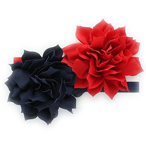 Patriotic Petals - My Lello Toddler/LIttle Girls Fabric Petal Flower Headbands 2 Pack (Red/Navy)