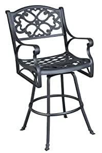 Home Style 5554-89 Biscayne Swivel Outdoor Bar Stool, Black Finish