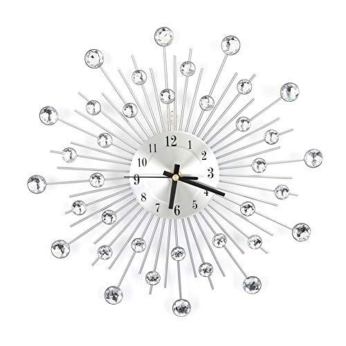FU-ZHI Metal Wall Clock, Modern Round Design Diamond Clock Decor for Living Room and Bedroom, Silver (30 cm-1)