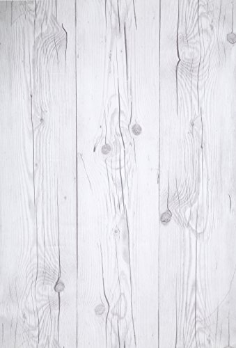(Blanco Vintage, Paquete de 1) Papel tapiz de mural autoadhesivo con veta de madera reciclada y rustica 50cm X 3M (19,6 X 118), 0,15mm Para revestimiento de restauracion de muebles, sala de estar
