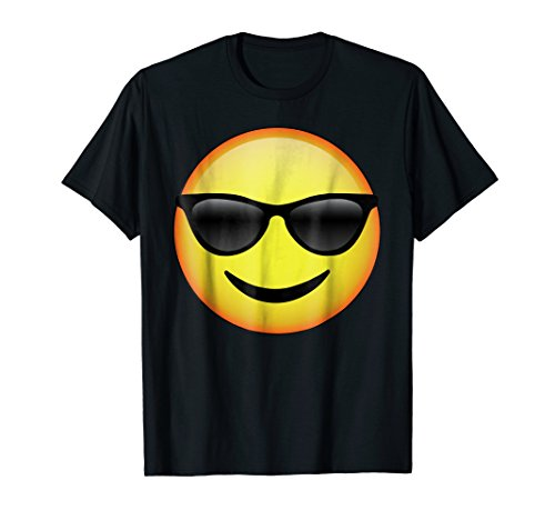 HD Emoji Sunglasses Face Shirt - Emoticon Tee - Cool ()