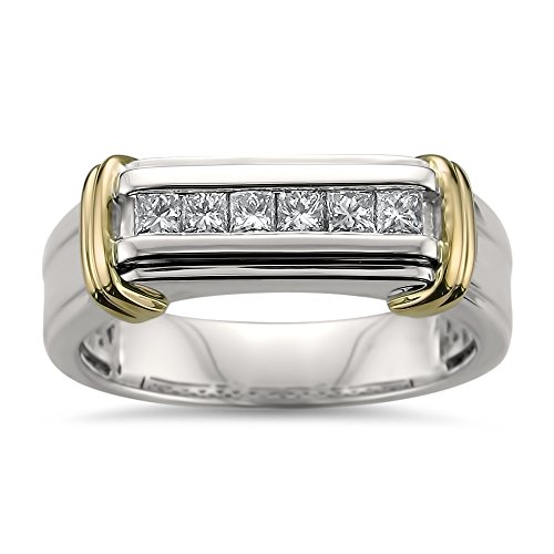 La4ve Diamonds 14k Two-Tone White & Yellow Gold Princess-Cut Diamond Men's Wedding Band Ring (1/2 cttw, H-I, SI2-I1), Size 10