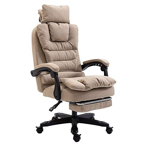 - Reclining Fabric Office Chair, with Footrrst Ergonomic Executive Chair Adjustable Height with Headrest Bearing Capacity: 330lbs (Color : Khaki)
