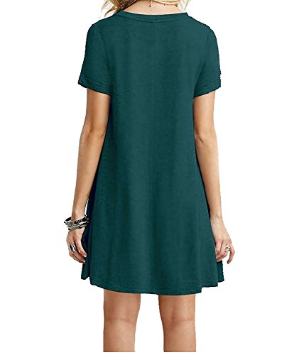 wlejkrgfhof Fashion Women's Swing Loose Short Sleeve Tshirt Fit Comfy Casual Flowy Tunic Cotton Dress DarkGreen