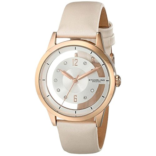 Stuhrling Original Women's 946L.02 Analog Winchester 16k Rose Gold-Layered Case Swarovski Crystal White Genuine Leather Strap Watch