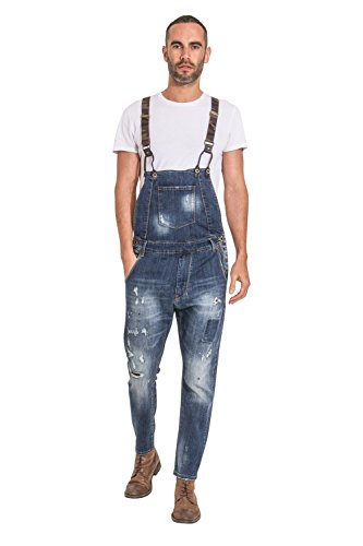 YT-Jeans Mens Drop Bib Distressed Denim Bib-Overalls Detachable Camo (Detachable Bib Safety Pants)