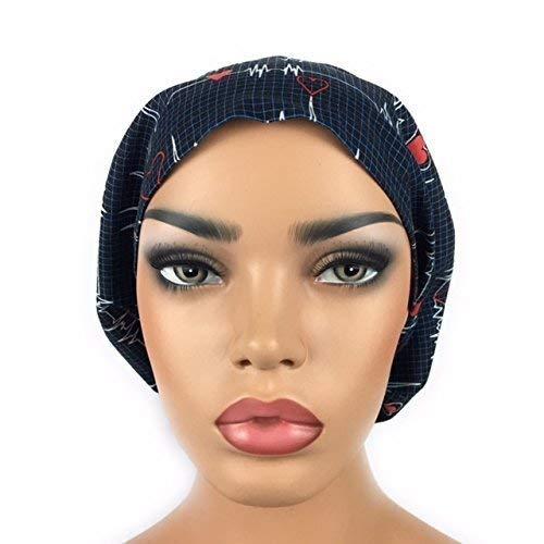 2689858299e DK Scrub Hats Women's Adjustable Bouffant Scrub Hat Ponytail Navy Blue Surgical  Cap Heartbeat EKG
