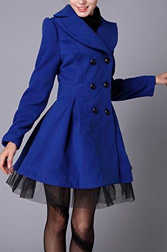 Patchwork De Invierno Mujer De Ropa De Elegante Encaje Botonadura Doble Abrigos La Abrigo Lana Blue UwHSqII
