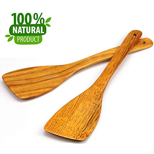 MoonWood Wooden Spatula Set for Cooking - 12 Inch Premium Long Handled Wood Kitchen Spatula Hard Wood Ideal for Pan, Cooking Utensils and Wok - Wood Turner, Corner Spatula, Spoon, Scraper Pack of 2