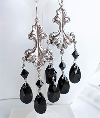(Black Swarovski Crystal Art Nouveau Antique Silver Brass Chandelier Statement Earrings)