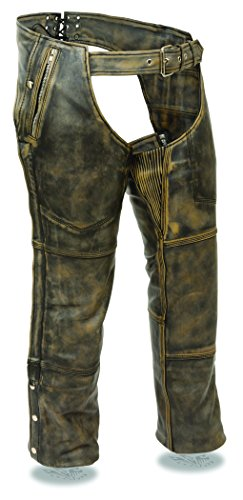 Milwaukee Leather Mens Distressed Brown Leather 4 Pocket Chap w/ Triple Stitch Detailing & Removable Thermal Liner