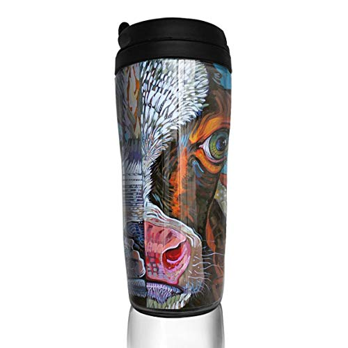 Rundehuahui Travel Coffee Mug Cow Insulated Thermos Stylish Portable Flask Car Cup,Accompanying Drink Bottle for Milk Water Tea,Keep Warm/Cold