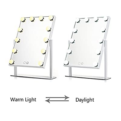WanEway Lighted Vanity Mirror with 12 x 3W Dimmable LED Bulbs and Touch Control Design, Hollywood Style Makeup Cosmetic Mirrors with Lights , White
