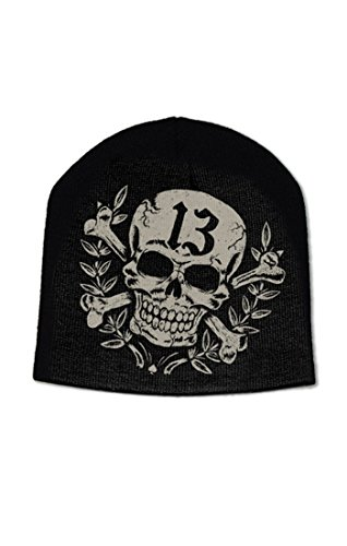 (Lucky 13 Skull Crossbones Triumph Badge Beanie Hat)
