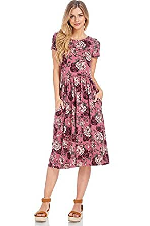 Floral Midi Dress (Small, Mauve Roses Short Sleeve)