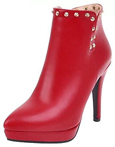 Idifu Womens Dressy Piggdekk Høy Stiletthæler Spiss Tå Zippe Bryllup Ankel Boots Red