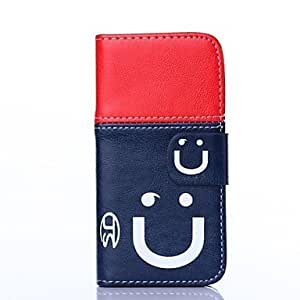 Mini - Smile Pattern PU Leather with Card Slot for iPhone 5/5S , Color: D