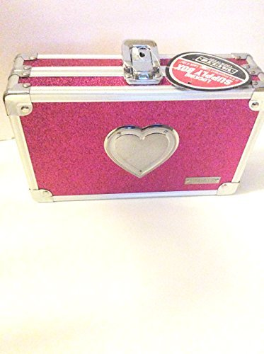 Vaultz Locking Pencil Box 5.5 x 8.25 x 2.5 inches Pink Bling with Heart