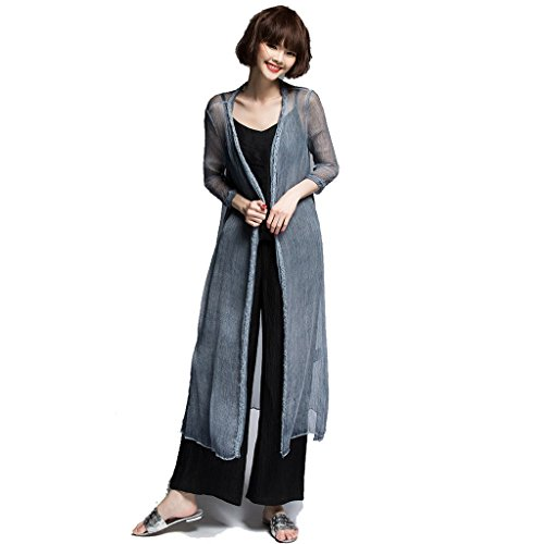 ARTOULAN Women's Summer Grey 100% Silk Wrinkled Dege Twisting Long Cardigan by ARTOULAN