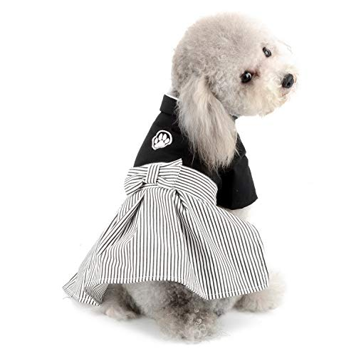 SELMAI Pet Kimono Costume Formal Girl Dog Dress and Boy Dog Jumpsuit Outfits Tuxedo Suit Shirt for Small Dogs Cats Wedding Party Clothes Girl Size XL ()